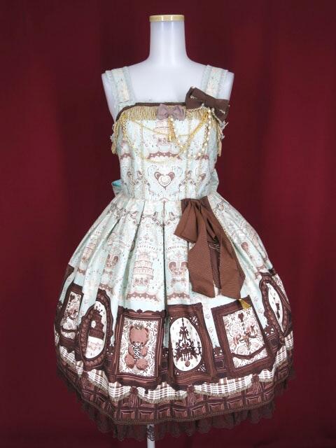Angelic Pretty Musee du Chocolatジャンパースカート+ヘッドドレス+ブローチセット