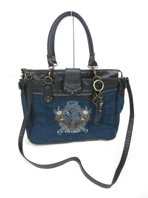 Ozz Croce ローズ刺繍入りエンブレムデザインバッグ