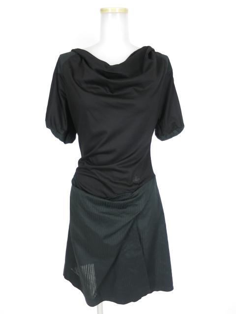 Vivienne Westwood RED LABEL ジャガードストライプ切替半袖ワンピース