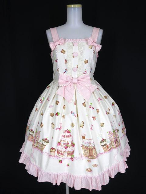 Angelic Pretty お菓子の国シャーリングジャンパースカート
