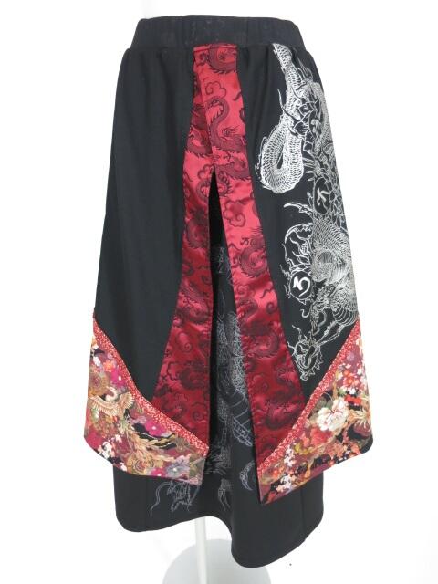 Qutie Frash 龍プリントレイヤードロングスカート