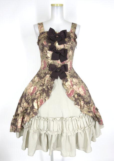 mille fleurs ローズ柄リボンジャンパースカート