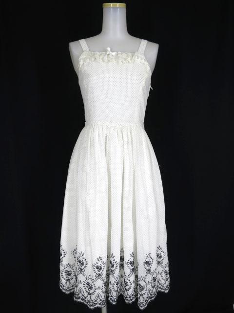 Innocent World ドット柄 バラとリボンのスカラップ刺繍 ジャンパースカート