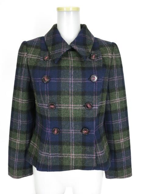 ROSA BIANCA ウールチェックのジャケットコート