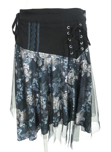 OZZ ONESTE メッシュ重ね和花柄巻きスカート