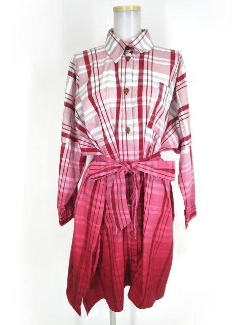 Vivienne Westwood RED LABEL グラデーションチェック柄ビッグシャツワンピース