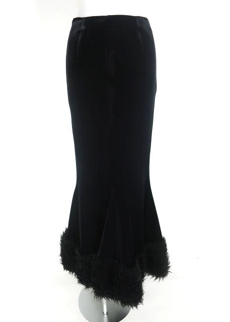 alice auaa 裾ファー付きベロアマーメイドロングスカート