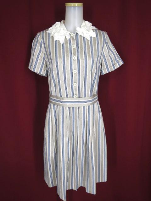 Jane Marple リボン衿 ストライプ半袖ワンピース