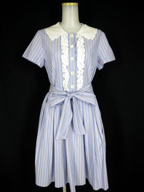 Jane Marple セーラー衿 マリンストライプ半袖ワンピース