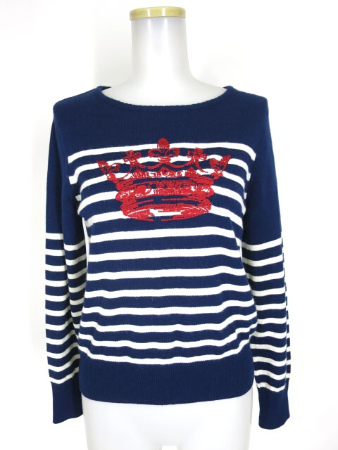 Jane Marple Dans Le Salon ボーダー王冠刺繍ニットセーター