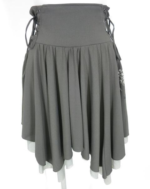 OZZ ONESTE 和チャイナ刺繍入り ウエスト編み上げ付きスカート