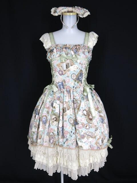 BABY, THE STARS SHINE BRIGHT Fragrant Rose Memories柄キャメロットジャンパースカート&カチューシャ セット