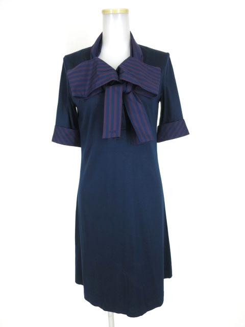 Vivienne Westwood RED LABEL ストライプボウタイ衿半袖ワンピース