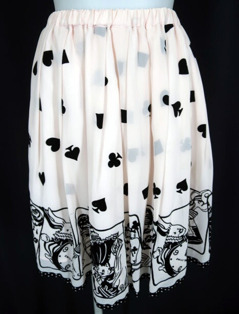 Emily Temple cute フロッキートランプアリスプリントシフォンスカート