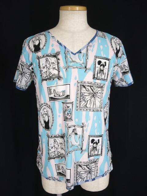 MILKBOY ギャラリー柄VネックTシャツ
