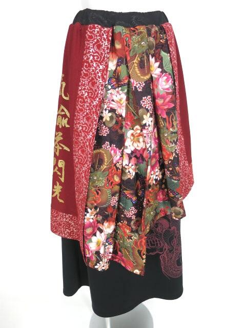 Qutie Frash 和柄レイヤードロングスカート