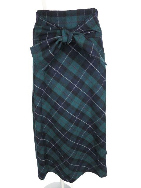 Jane Marple ウールタータンチェックロングスカート