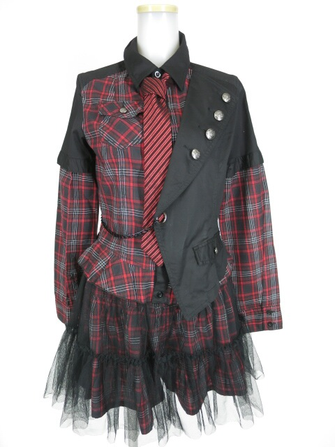 ALGONQUINS チェック柄シャツ+ショートパンツ+チュールスカート+ネクタイ セット