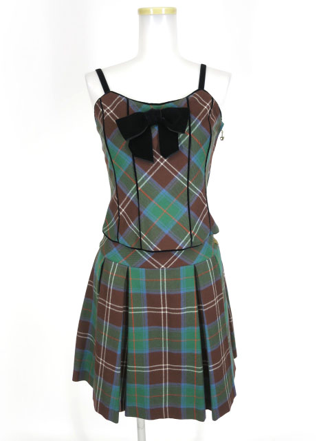 Jane Marple タータンチェックビスチェ&プリーツスカート セットアップ