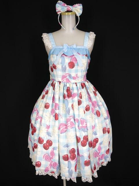 Angelic Pretty Sweet Cherry MargaretジャンパースカートSet (JSK+カチューシャ)