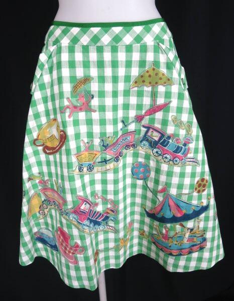 Jane Marple ギンガムチェック遊園地柄スカート