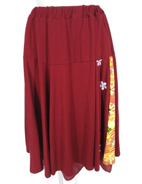 gouk 桜刺繍入り和柄切替スカート