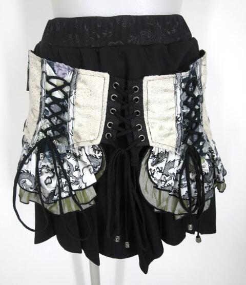 Qutie Frash コルセット風編み上げ付きプリーツミニスカート