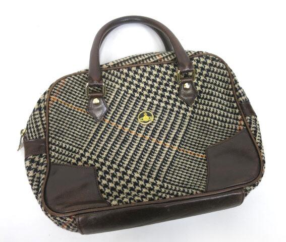 Vivienne Westwood エナメルオーブボタン千鳥格子ツイードバッグ