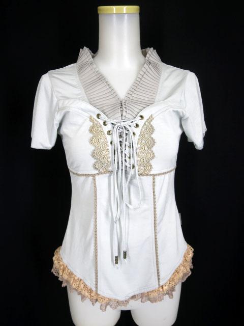 Rozen Kavalier プリーツ付き胸編み上げ半袖カットソー