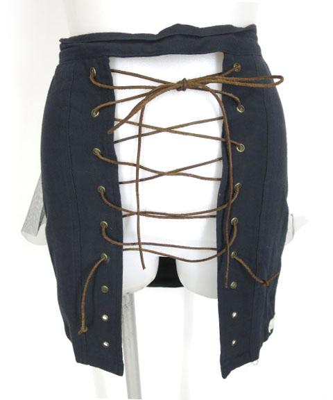 alice auaa バックチュール付きレザー編み上げオーバースカート