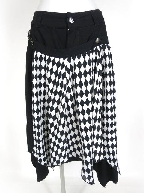 ALGONQUINS ダイヤチェックフレアーフラップ付きミディアムヘムスカート