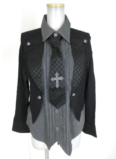 ALGONQUINS ジャケット重ね着風デザイン ネクタイ付きブラウス