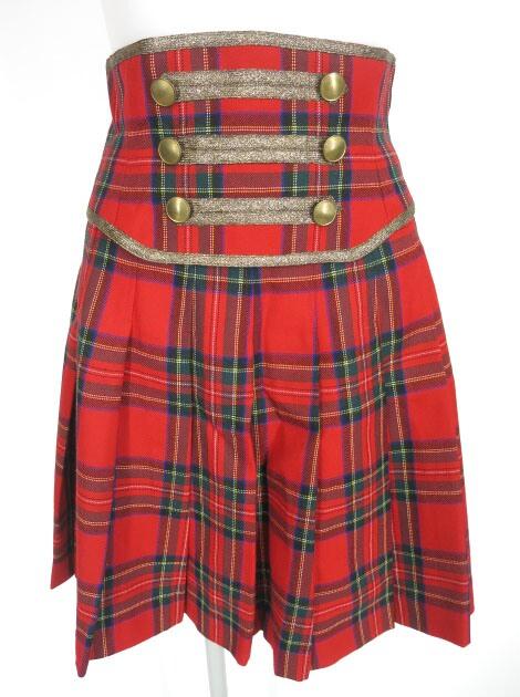 Jane Marple カマーベルト付きタータンチェック柄スカート