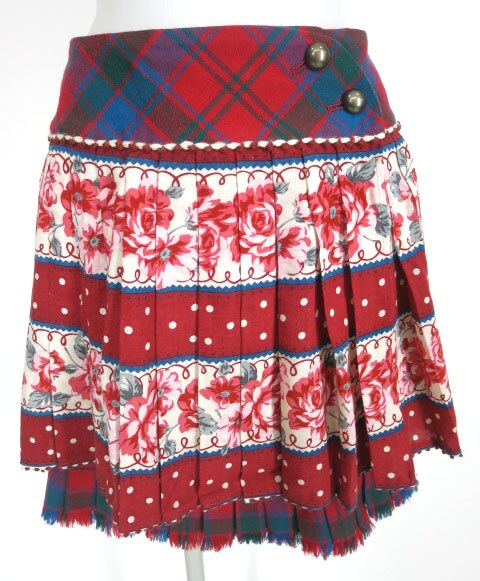 Jane Marple タータンチェック×アイリッシュローズ×水玉柄スカート