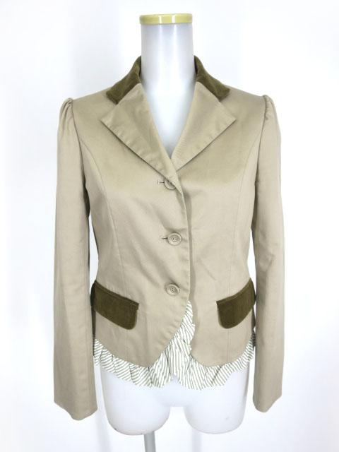Jane Marple ストライプフリル付きジャケット