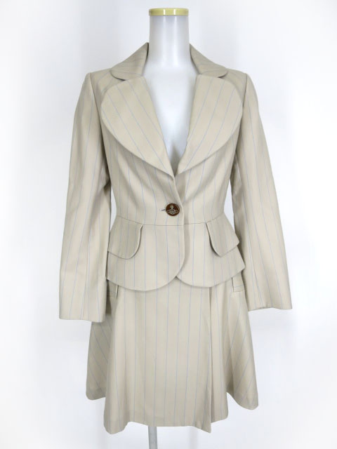 Vivienne Westwood RED LABEL ストライプ柄 ラブジャケット & スカート スーツ セットアップ