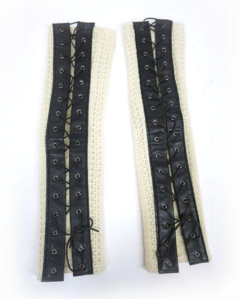 alice auaa 編み上げ付きニットアームカバー