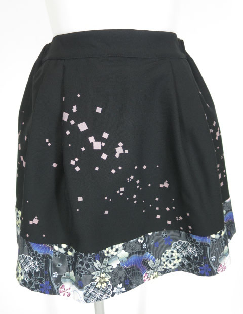 gouk 裾和柄切替ミニスカート