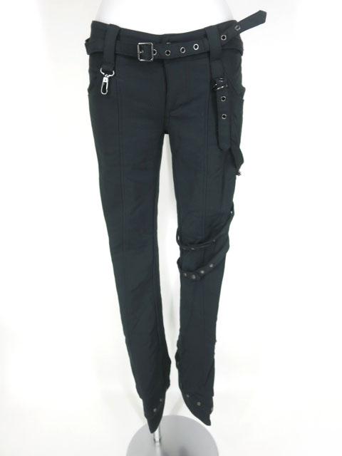 Ozz Croce 飾りベルト付きブーツカットパンツ