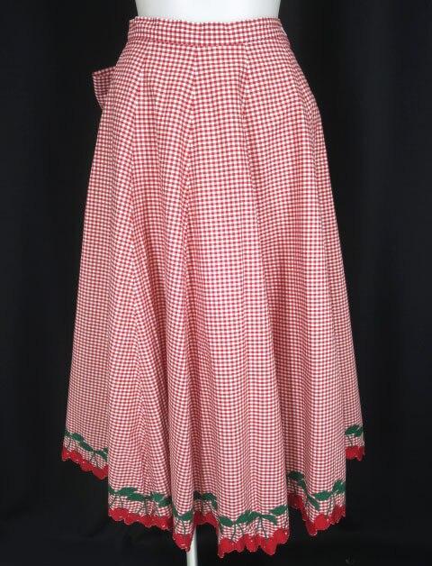 Jane Marple チェリー刺繍ギンガムチェックスカート