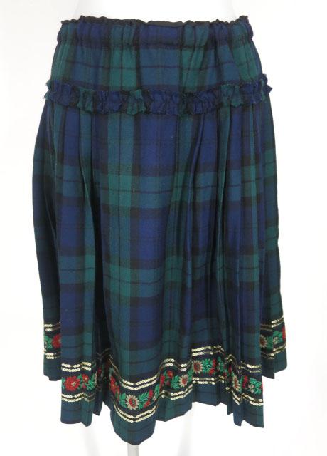 Jane Marple スパンコール付きタータンチェックプリーツスカート