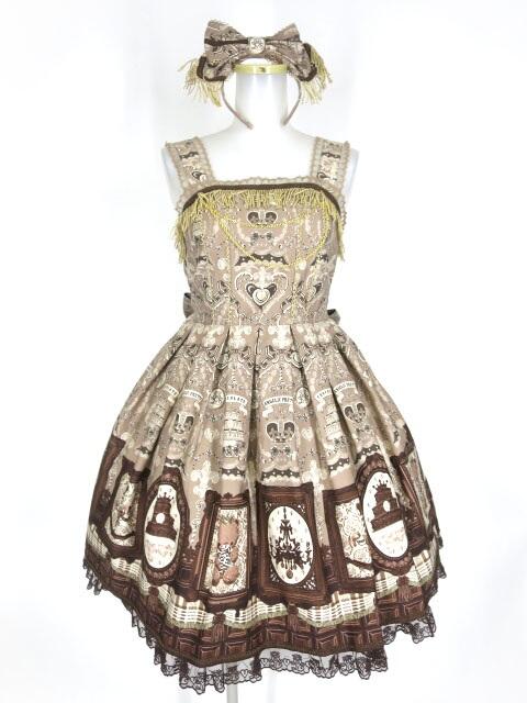 Angelic Pretty Musee du Chocolatジャンパースカート&カチューシャ&ボンネット セット