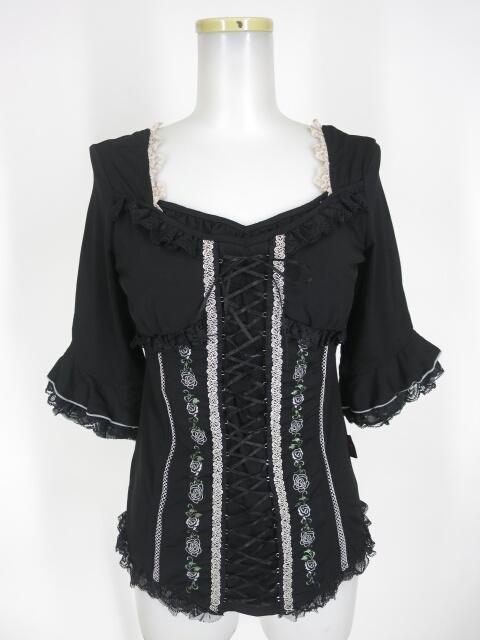 Ozz Croce ローズ刺繍入り編み上げ付き五分袖カットソー