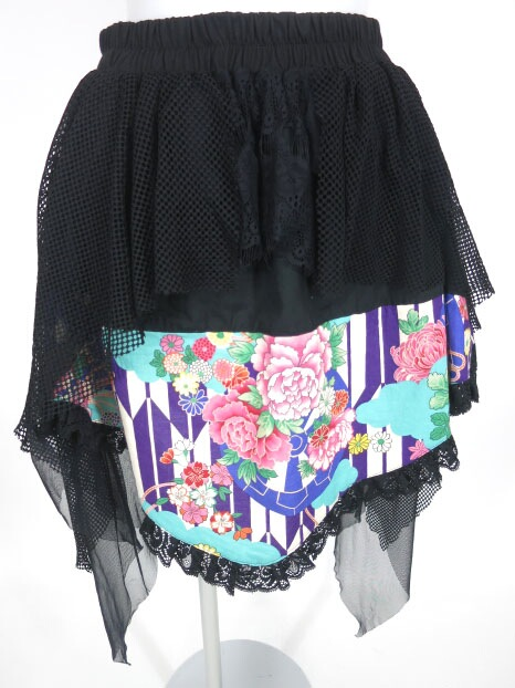 gouk雅 メッシュ重ね和柄スカート