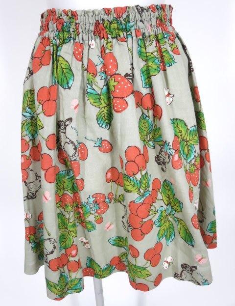 Jane Marple チェリー&ストロベリー柄スカート