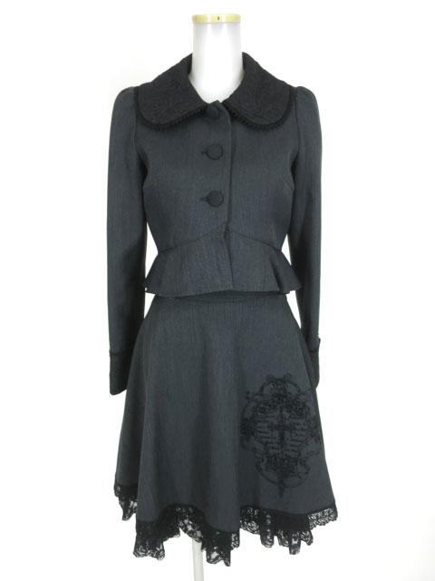 Moi-meme-Moitie 薔薇レース重ねジャケット&十字架フレームフロッキープリントスカート