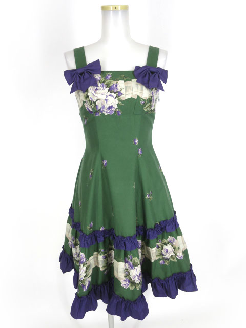 Mille fleurs 薔薇ブーケプリント ジャンパースカート