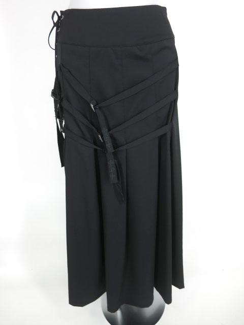 Ozz Croce ベルトデザインプリーツフレアロングスカート