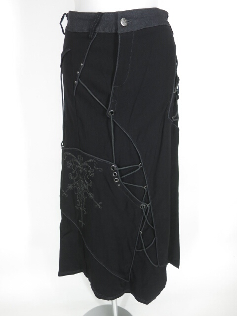 Ozz Croce ランダム編み上げ付きロングスカート