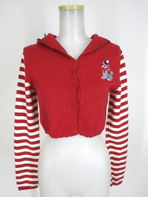 Shirley Temple プードル刺繍セーラー衿袖ボーダーカーディガン
